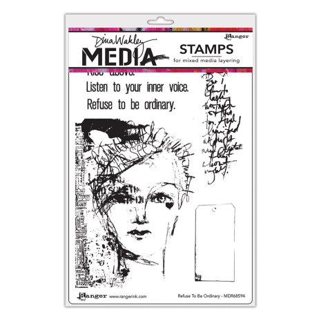 Dina Wakley Media Cling Stamps 6X9 - Refuse to be Ordinary