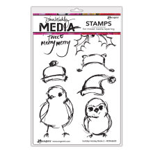 Dina Wakley Media Cling Stamps 6X9 - Scribbly Holiday Birdie 2
