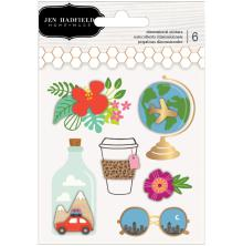 Jen Hadfield Layered Stickers 6/Pkg - Chasing Adventures
