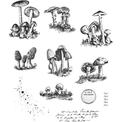 Tim Holtz Cling Stamps 7X8.5 -Tiny Toadstools