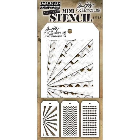 Tim Holtz Mini Layered Stencil Set 3/Pkg - Set #42