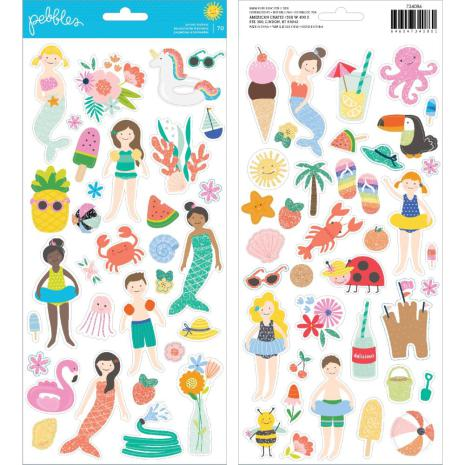 Pebbles Oh Summertime Cardstock Stickers 6X12 70/Pkg - Icons