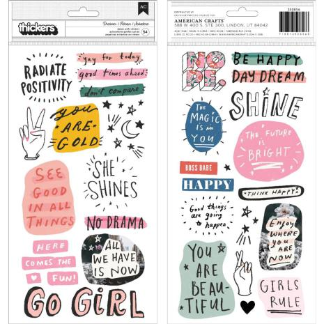 Crate Paper All Heart Thickers Stickers 54/Pkg - Phrase & Icons