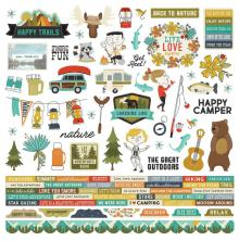 Simple Stories Happy Trails Cardstock Stickers 12X12 - Combo