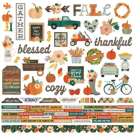 Simple Stories Fall Farmhouse Cardstock Stickers 12X12 - Combo