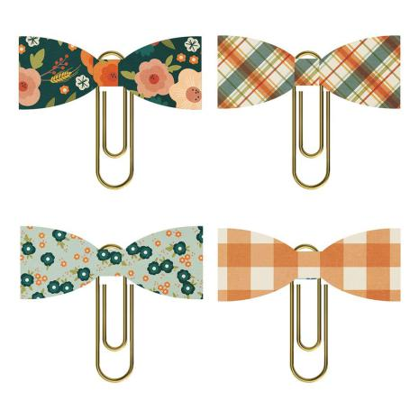 Simple Stories Bow Clips 4/Pkg - Fall Farmhouse