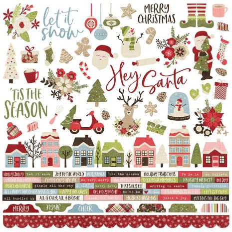 Simple Stories Holly Jolly Cardstock Stickers 12X12 - Combo