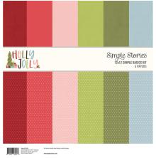 Simple Stories Basics Double-Sided Paper Pack 12X12 6/Pkg - Holly Jolly