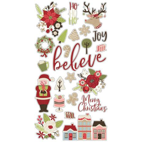 Simple Stories Chipboard Stickers 6X12 - Holly Jolly