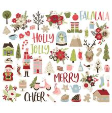 Simple Stories Bits & Pieces Die-Cuts 59/Pkg - Holly Jolly