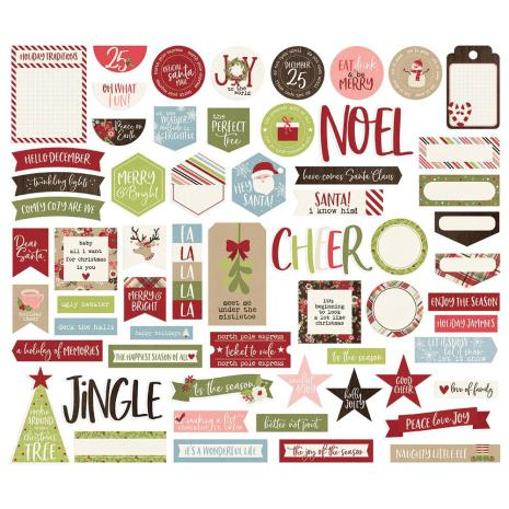Simple Stories Journal Bits & Pieces Die-Cuts 61/Pkg -  Holly Jolly