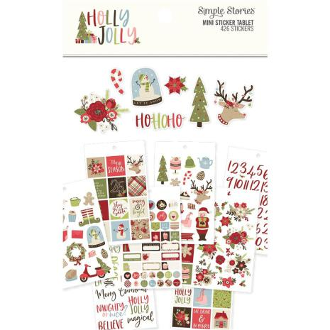 Simple Stories Mini Sticker Tablet 12/Pkg - Holly Jolly
