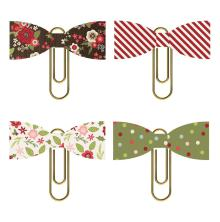 Simple Stories Bow Clips 4/Pkg - Holly Jolly