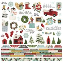 Simple Stories Winter Farmhouse Cardstock Stickers 12X12 - Combo