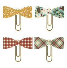 Simple Stories Bow Clips 4/Pkg - Winter Farmhouse
