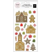 Pink Paislee Together For Christmas Puffy Stickers 23/Pkg - Gingerbread