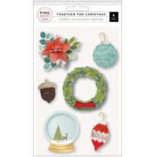 Pink Paislee Layered Stickers 6/Pkg - Together For Christmas