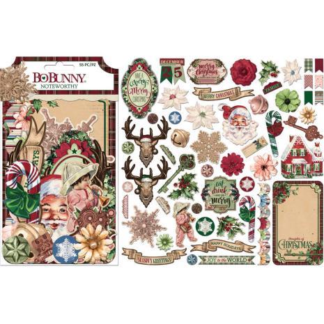 BoBunny Noteworthy Die-Cuts 55/Pkg - Christmas Treasures