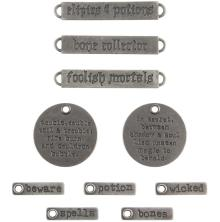 Tim Holtz Idea-Ology Metal Adornments 10/Pkg - Words Halloween 2019