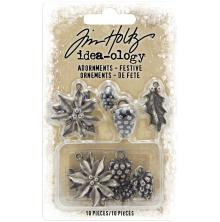 Tim Holtz Idea-Ology Metal Adornments 10/Pkg - Festive