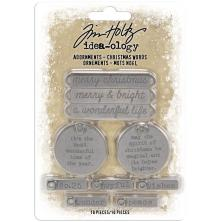 Tim Holtz Idea-Ology Metal Adornments 10/Pkg - Christmas Words