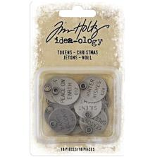 Tim Holtz Idea-Ology Metal Typed Tokens 18/Pkg - Christmas Words