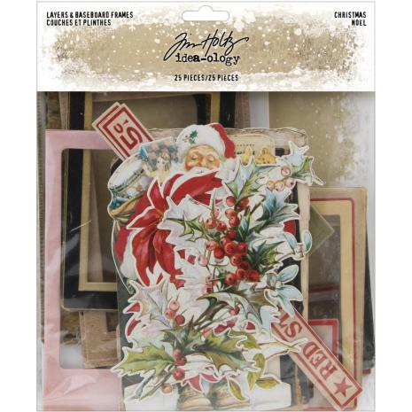 Tim Holtz Idea-Ology Layers & Baseboard Frames 25/Pkg - Christmas