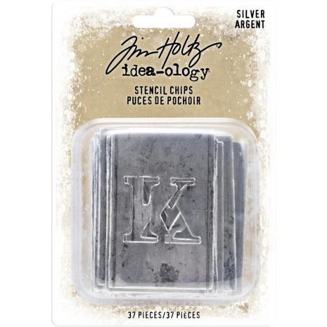 Tim Holtz Idea-Ology Stencil Chips 37/Pkg - Silver