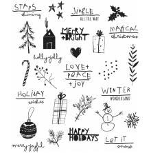 Tim Holtz Cling Stamps 7X8.5 -Sesonal Scribbles
