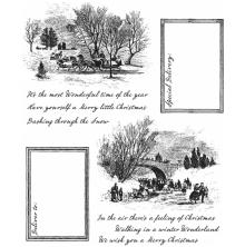 Tim Holtz Cling Stamps 7X8.5 -Scenic Holiday