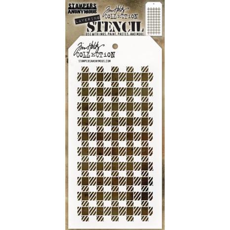 Tim Holtz Layered Stencil 4.125X8.5 -Gingham