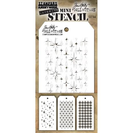 Tim Holtz Mini Layered Stencil Set 3/Pkg - Set #44