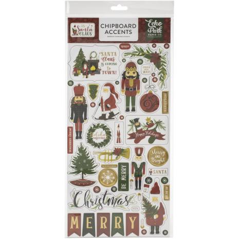 Echo Park Here Comes Santa Claus Chipboard 6X13 - Accents