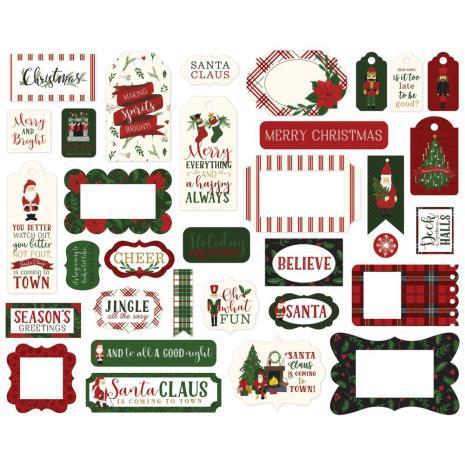 Echo Park Here Comes Santa Claus Cardstock Die-Cuts - Frames & Tags