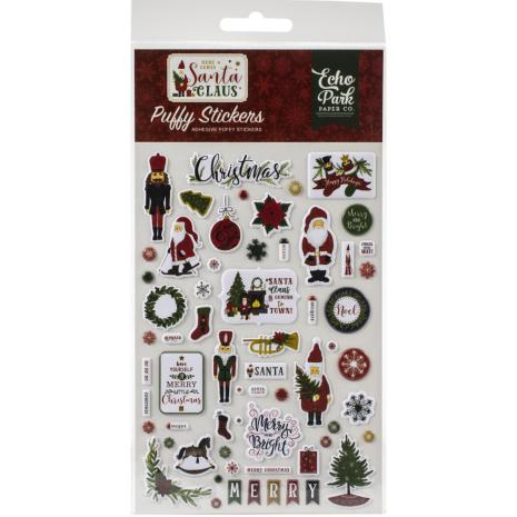 Echo Park Puffy Stickers - Here Comes Santa Claus