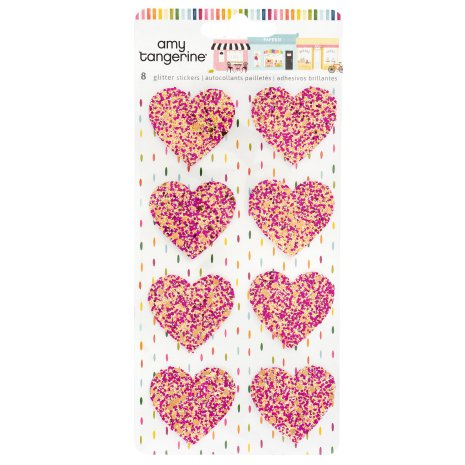 Amy Tangerine Glitter Heart Stickers - Slice of Life