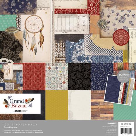 Kaisercraft Paper Pack 12X12 12/Pkg - Grand Bazaar