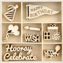 Kaisercraft Wood Mini Themed Embellishments - Oh Happy Day!