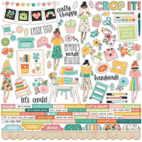 Simple Stories Hey, Crafty Girl Cardstock Stickers 12X12 - Combo
