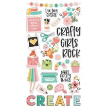 Simple Stories Chipboard Stickers 6X12 - Hey, Crafty Girl