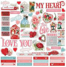 Simple Stories Simple Vintage My Valentine Cardstock Stickers 12X12 - Combo
