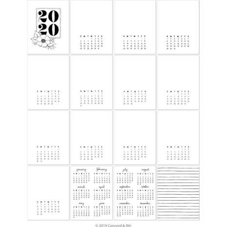 Concord & 9th 4.25X5.5 Calendar Cards 16/Pkg - 2020