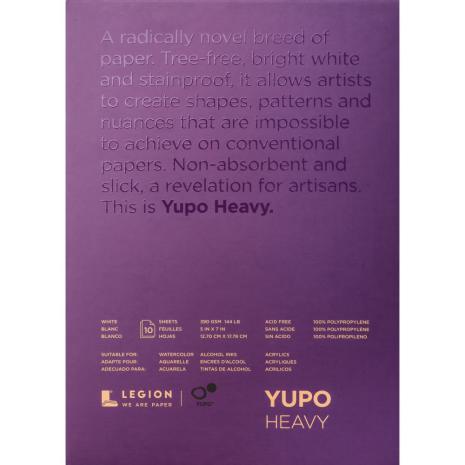 Yupo Heavy Pads 5X7 10 Sheets/Pkg - White 390gsm