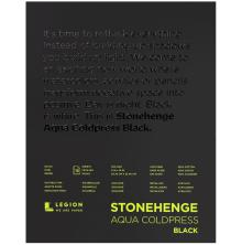 Stonehenge Aqua Block Coldpress Pad 8X10 15 Sheets/Pkg - Black 300gsm