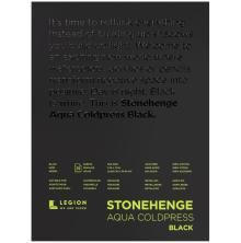 Stonehenge Aqua Block Coldpress Pad 9X12 15 Sheets/Pkg - Black300gsm