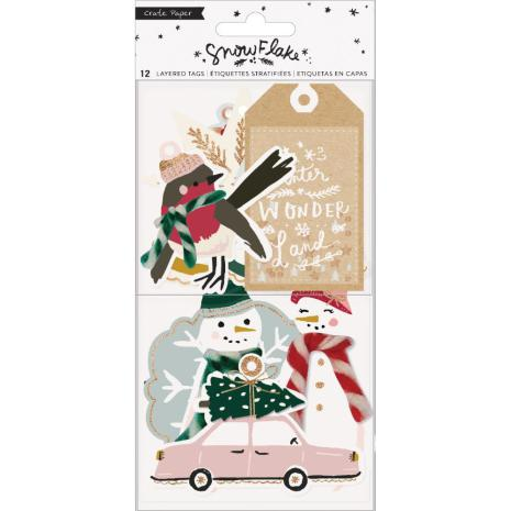 Crate Paper Layered Tags 12/Pkg - Snowflake