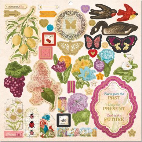 BoBunny Chipboard Stickers 12X12 - Time & Place