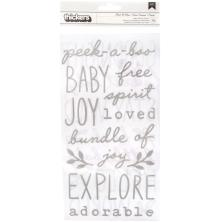Pebbles Peek-A-Boo You Thickers Stickers 5.5X11 79/Pkg - Phrases Puffy