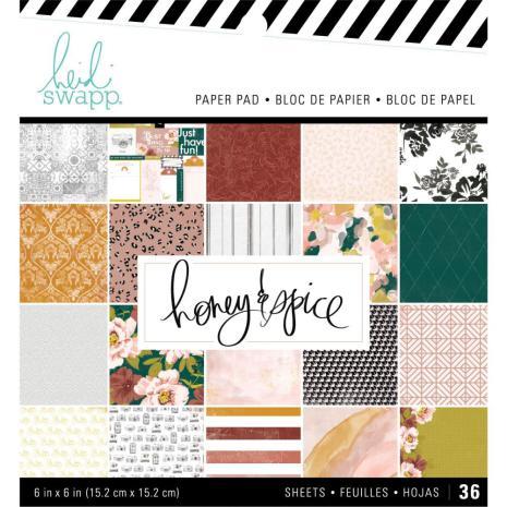 Heidi Swapp Single-Sided Paper Pad 6X6 36/Pkg - Honey & Spice