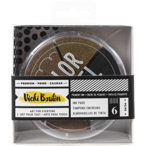 Vicki Boutin Color Wheel Pigment Ink Pads 6/Pkg Metallics - Wildflower & Honey